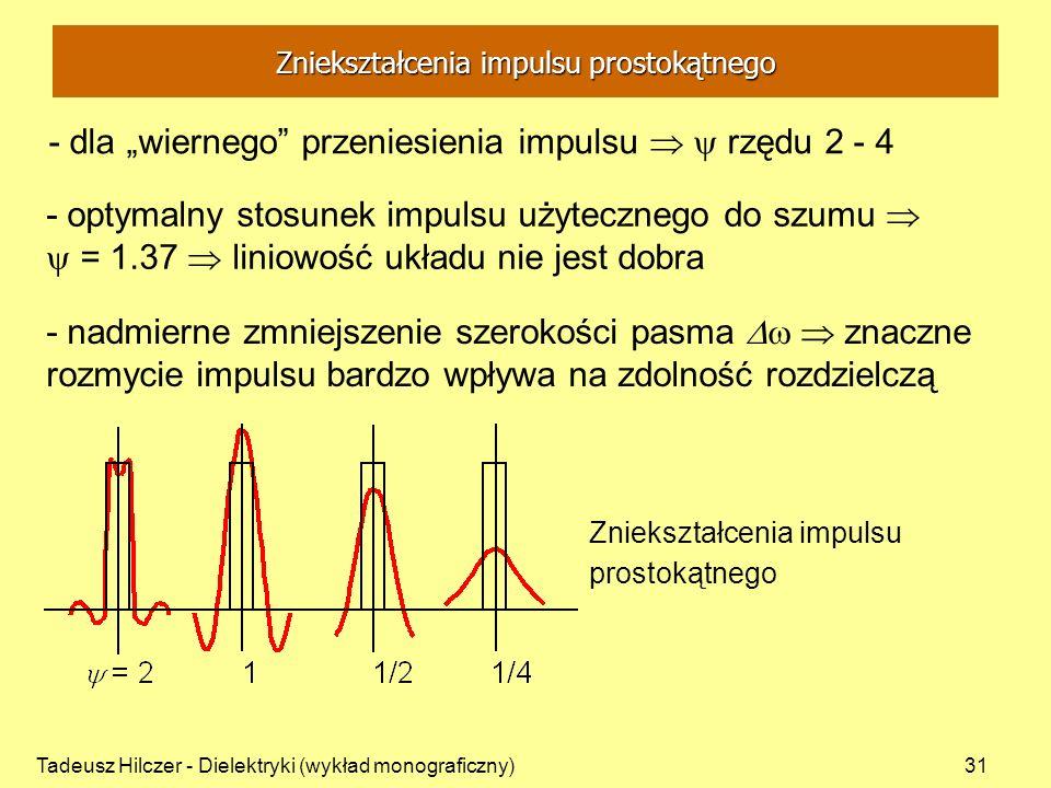 Tadeusz Hilczer - Dielektryki (wykład monograficzny)31 Zniekształcenia impulsu prostokątnego - dla wiernego przeniesienia impulsu rzędu 2 - 4 - optyma