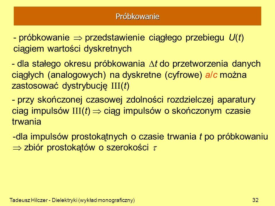 Tadeusz Hilczer - Dielektryki (wykład monograficzny)32 - próbkowanie przedstawienie ciągłego przebiegu U(t) ciągiem wartości dyskretnych - przy skończ