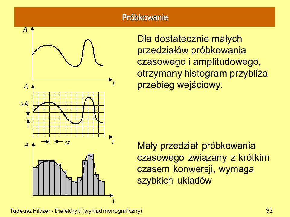 Tadeusz Hilczer - Dielektryki (wykład monograficzny)33 Dla dostatecznie małych przedziałów próbkowania czasowego i amplitudowego, otrzymany histogram