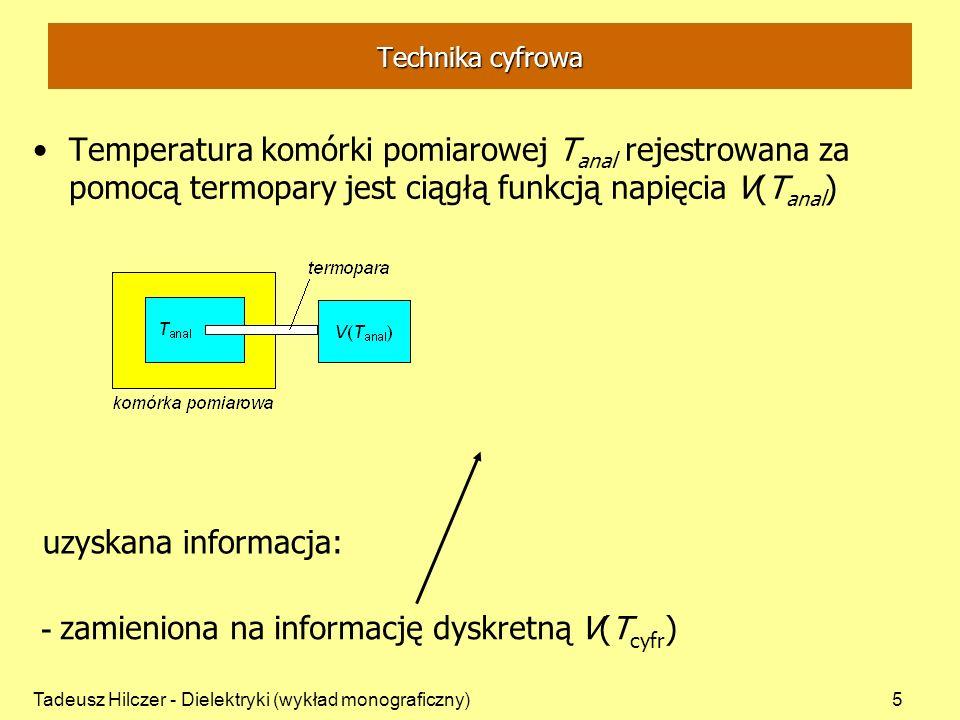 Tadeusz Hilczer - Dielektryki (wykład monograficzny)5 Technika cyfrowa Temperatura komórki pomiarowej T anal rejestrowana za pomocą termopary jest cią