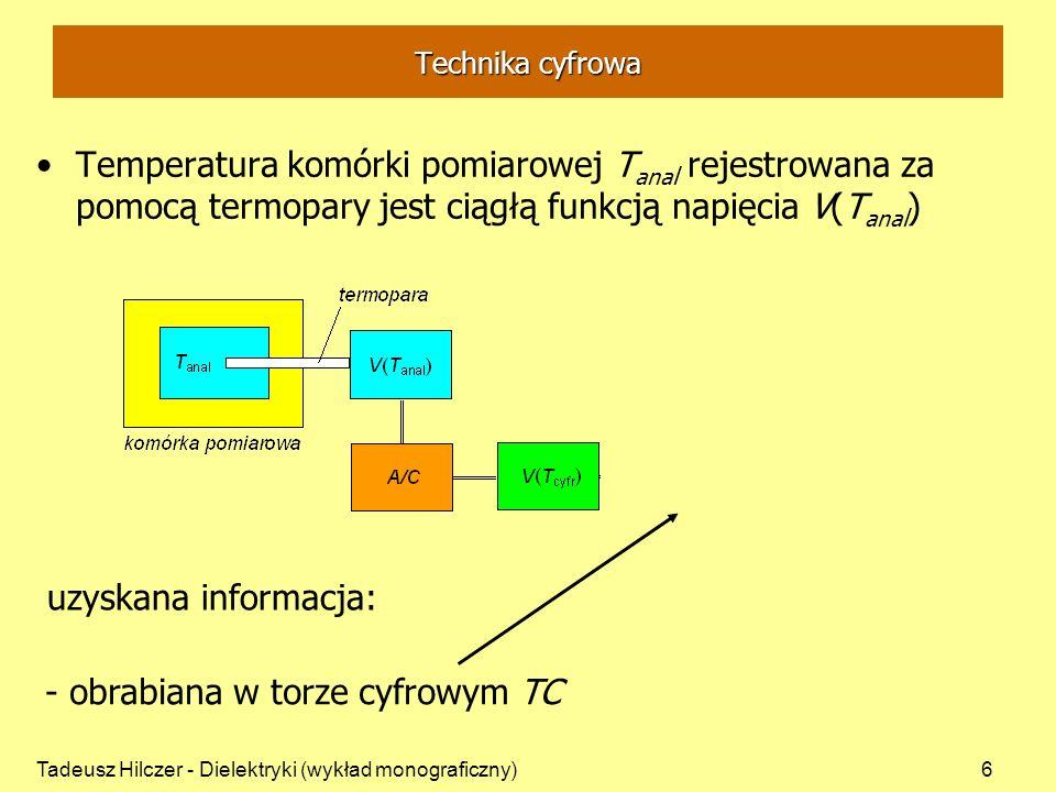 Tadeusz Hilczer - Dielektryki (wykład monograficzny)6 Technika cyfrowa Temperatura komórki pomiarowej T anal rejestrowana za pomocą termopary jest cią