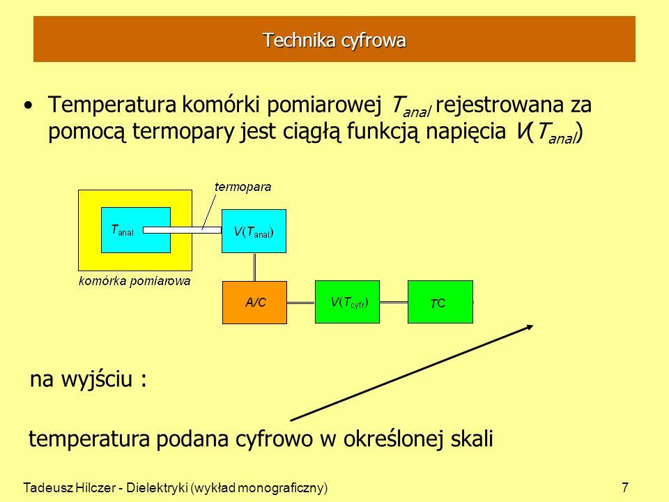Tadeusz Hilczer - Dielektryki (wykład monograficzny)7 Temperatura komórki pomiarowej T anal rejestrowana za pomocą termopary jest ciągłą funkcją napię