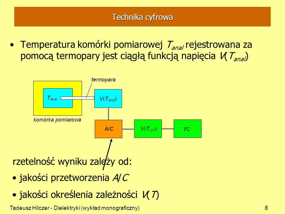 Tadeusz Hilczer - Dielektryki (wykład monograficzny)8 Temperatura komórki pomiarowej T anal rejestrowana za pomocą termopary jest ciągłą funkcją napię