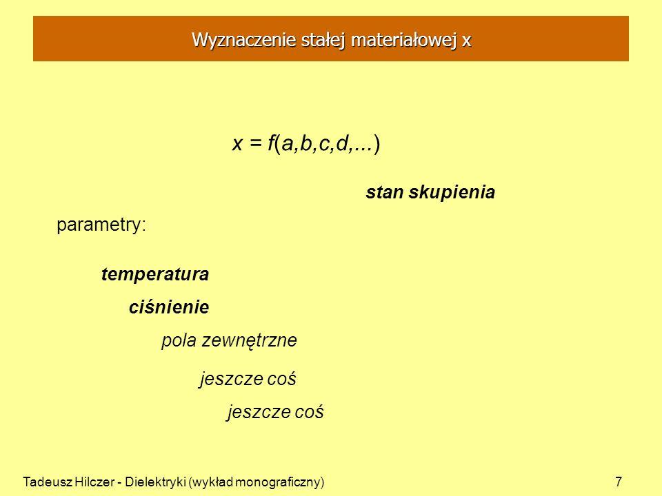 Tadeusz Hilczer - Dielektryki (wykład monograficzny)8 parametry: stan skupienia = const x = f(T) temperatura zmienna ciśnienie = const pola zewnętrzne = const jeszcze coś = const - pomiar temperaturowy Wyznaczenie stałej materiałowej x