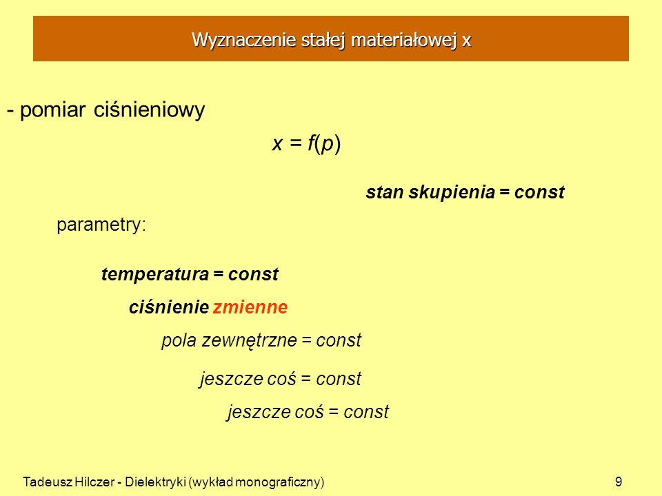 Tadeusz Hilczer - Dielektryki (wykład monograficzny)10 parametry: stan skupienia = const x = f(T,p) temperatura zmienna ciśnienie zmienne pola zewnętrzne = const jeszcze coś = const - pomiar temperaturowy i ciśnieniowy Wyznaczenie stałej materiałowej x