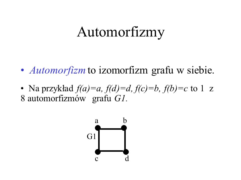 Izomorfizm grafów Na przykład G1 jest izomorficzny z G2, bo f(a)=a, f(c)=c, f(b)=d, f(d)=b. G1=G5, G2=G3, wszystkie grafy mają tę samą strukturę – są