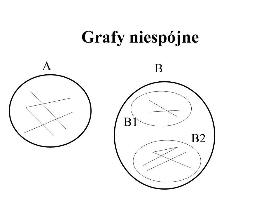 Spójność Graf jest spójny, gdy dla każdego podziału V na dwa rozłączne i niepuste podzbiory A i B istnieje krawędź z A do B (graf jest w 1 kawałku). I