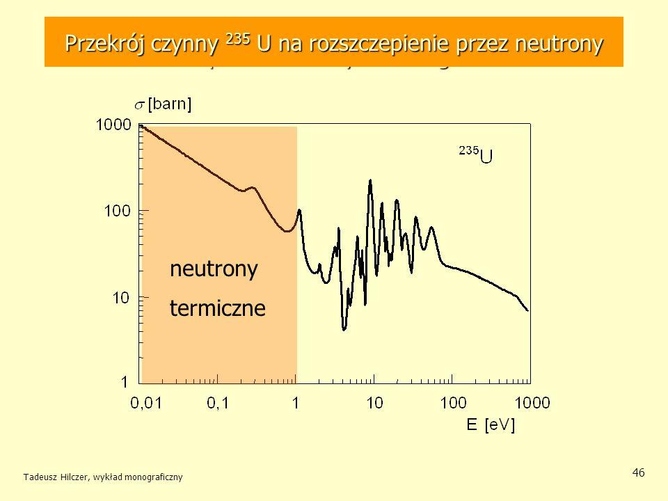 Tadeusz Hilczer, wykład monograficzny 46 Zależność przekroju czynnego na rozszczepienie 235 U przez neutrony od energii Przekrój czynny 235 U na rozsz