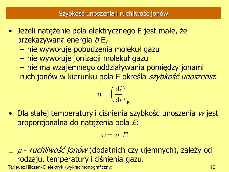 Tadeusz Hilczer - Dielektryki (wykład monograficzny)12 Szybkość unoszenia i ruchliwość jonów Jeżeli natężenie pola elektrycznego E jest małe, że przek