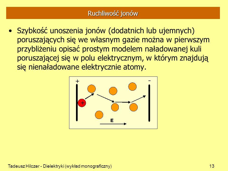 Tadeusz Hilczer - Dielektryki (wykład monograficzny)13 Ruchliwość jonów Szybkość unoszenia jonów (dodatnich lub ujemnych) poruszających się we własnym gazie można w pierwszym przybliżeniu opisać prostym modelem naładowanej kuli poruszającej się w polu elektrycznym, w którym znajdują się nienaładowane elektrycznie atomy.