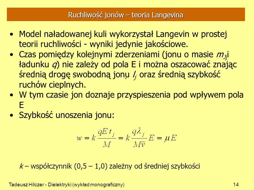 Tadeusz Hilczer - Dielektryki (wykład monograficzny)14 Ruchliwość jonów – teoria Langevina Model naładowanej kuli wykorzystał Langevin w prostej teori