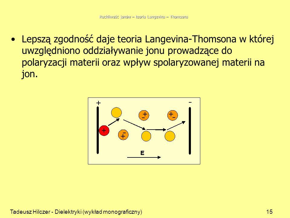Tadeusz Hilczer - Dielektryki (wykład monograficzny)15 Ruchliwość jonów – teoria Langevina – Thomsona Lepszą zgodność daje teoria Langevina-Thomsona w której uwzględniono oddziaływanie jonu prowadzące do polaryzacji materii oraz wpływ spolaryzowanej materii na jon.