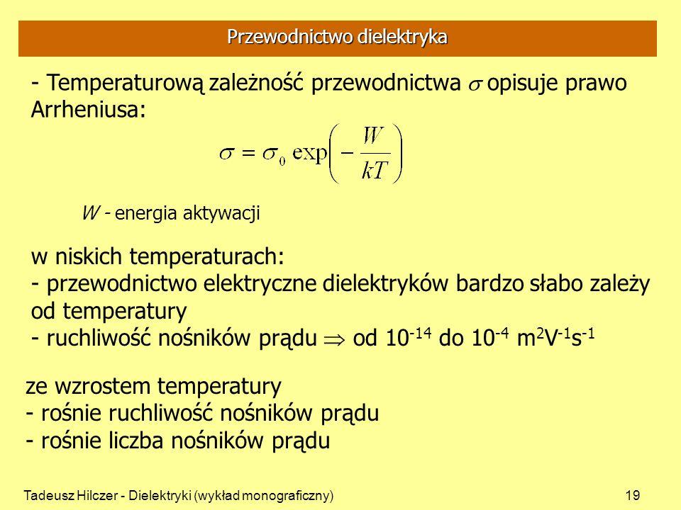 Tadeusz Hilczer - Dielektryki (wykład monograficzny)19 w niskich temperaturach: - przewodnictwo elektryczne dielektryków bardzo słabo zależy od temper