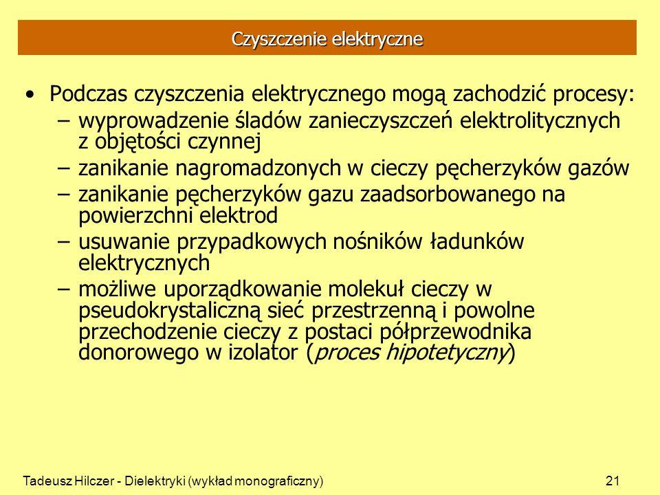 Tadeusz Hilczer - Dielektryki (wykład monograficzny)21 Czyszczenie elektryczne Podczas czyszczenia elektrycznego mogą zachodzić procesy: –wyprowadzeni