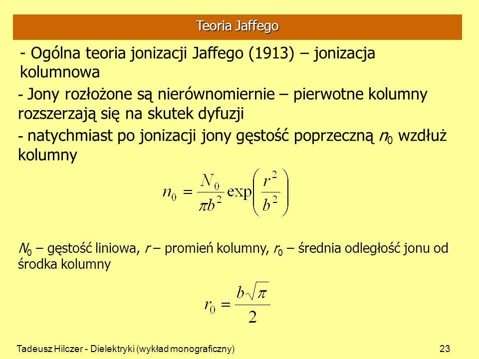 Tadeusz Hilczer - Dielektryki (wykład monograficzny)23 - Ogólna teoria jonizacji Jaffego (1913) – jonizacja kolumnowa - Jony rozłożone są nierównomiernie – pierwotne kolumny rozszerzają się na skutek dyfuzji - natychmiast po jonizacji jony gęstość poprzeczną n 0 wzdłuż kolumny N 0 – gęstość liniowa, r – promień kolumny, r 0 – średnia odległość jonu od środka kolumny Teoria Jaffego