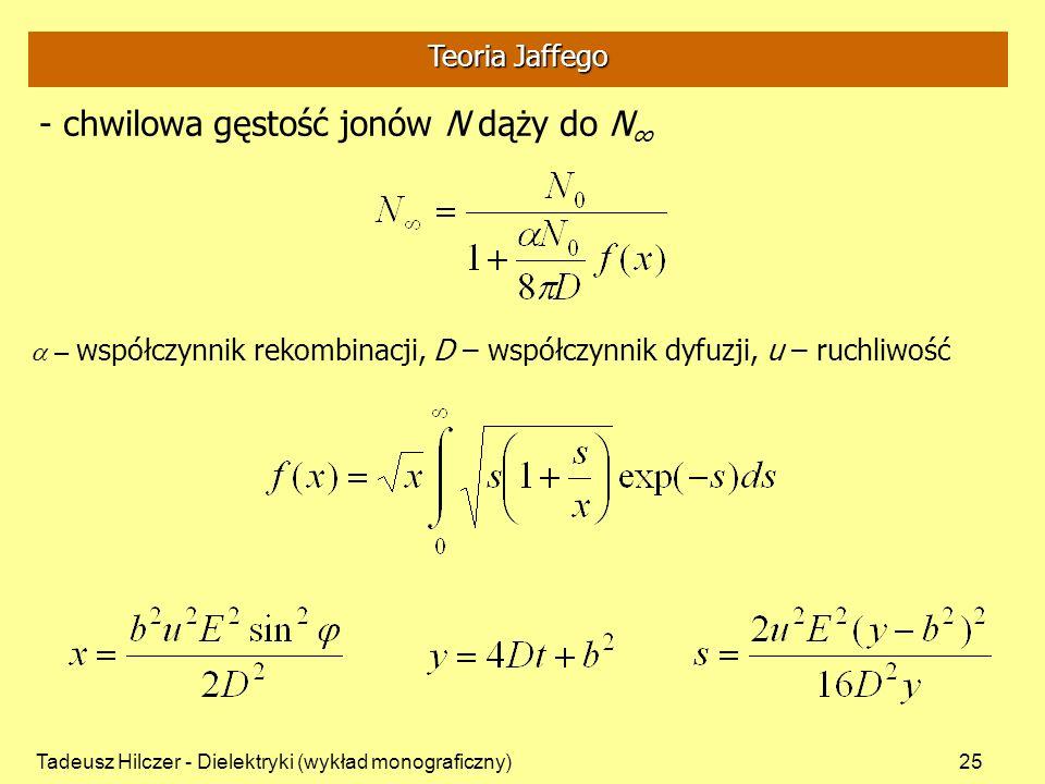 Tadeusz Hilczer - Dielektryki (wykład monograficzny)25 - chwilowa gęstość jonów N dąży do N – współczynnik rekombinacji, D – współczynnik dyfuzji, u – ruchliwość Teoria Jaffego