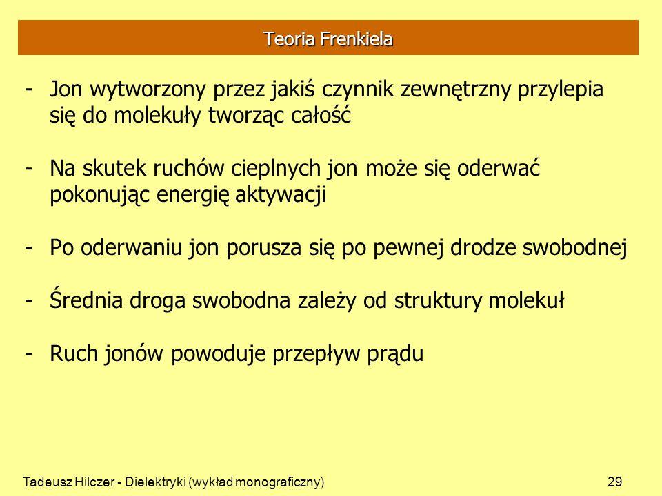 Tadeusz Hilczer - Dielektryki (wykład monograficzny)29 Teoria Frenkiela -Jon wytworzony przez jakiś czynnik zewnętrzny przylepia się do molekuły tworz