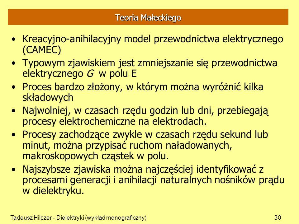 Tadeusz Hilczer - Dielektryki (wykład monograficzny)30 Teoria Małeckiego Kreacyjno-anihilacyjny model przewodnictwa elektrycznego (CAMEC) Typowym zjawiskiem jest zmniejszanie się przewodnictwa elektrycznego G w polu E Proces bardzo złożony, w którym można wyróżnić kilka składowych Najwolniej, w czasach rzędu godzin lub dni, przebiegają procesy elektrochemiczne na elektrodach.