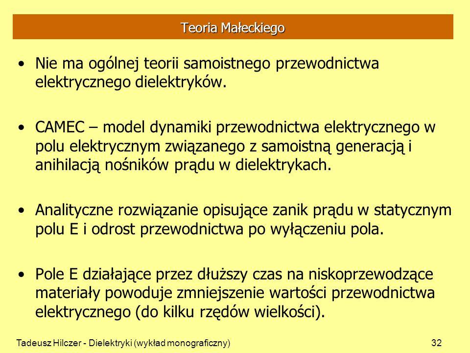 Tadeusz Hilczer - Dielektryki (wykład monograficzny)32 Teoria Małeckiego Nie ma ogólnej teorii samoistnego przewodnictwa elektrycznego dielektryków.
