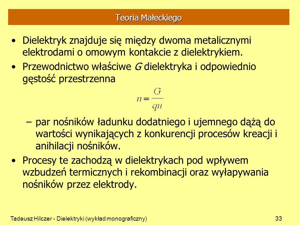 Tadeusz Hilczer - Dielektryki (wykład monograficzny)33 Teoria Małeckiego Dielektryk znajduje się między dwoma metalicznymi elektrodami o omowym kontak