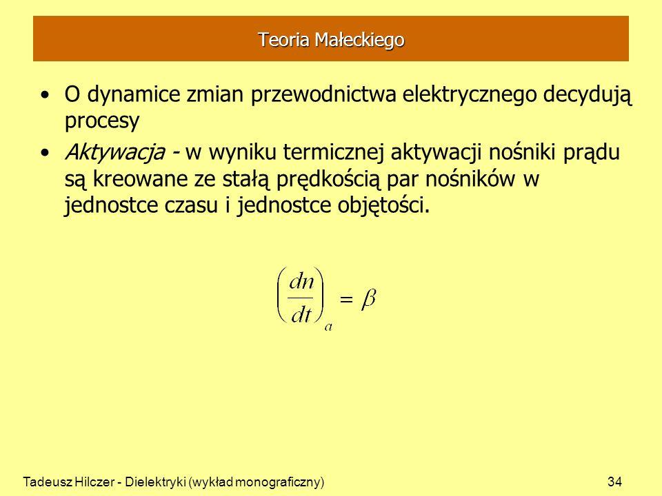 Tadeusz Hilczer - Dielektryki (wykład monograficzny)34 Teoria Małeckiego O dynamice zmian przewodnictwa elektrycznego decydują procesy Aktywacja - w w