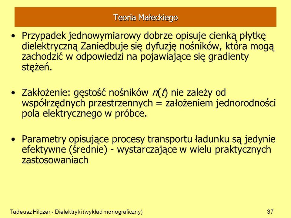 Tadeusz Hilczer - Dielektryki (wykład monograficzny)37 Teoria Małeckiego Przypadek jednowymiarowy dobrze opisuje cienką płytkę dielektryczną Zaniedbuj