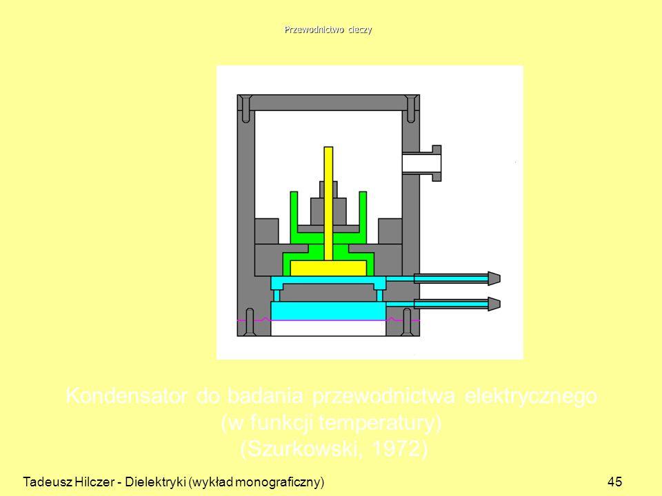 Tadeusz Hilczer - Dielektryki (wykład monograficzny)45 Kondensator do badania przewodnictwa elektrycznego (w funkcji temperatury) (Szurkowski, 1972) Przewodnictwo cieczy