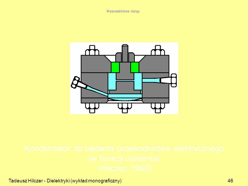 Tadeusz Hilczer - Dielektryki (wykład monograficzny)46 Kondensator do badania przewodnictwa elektrycznego (w funkcji ciśnienia) (Hilczer, 1960) Przewo