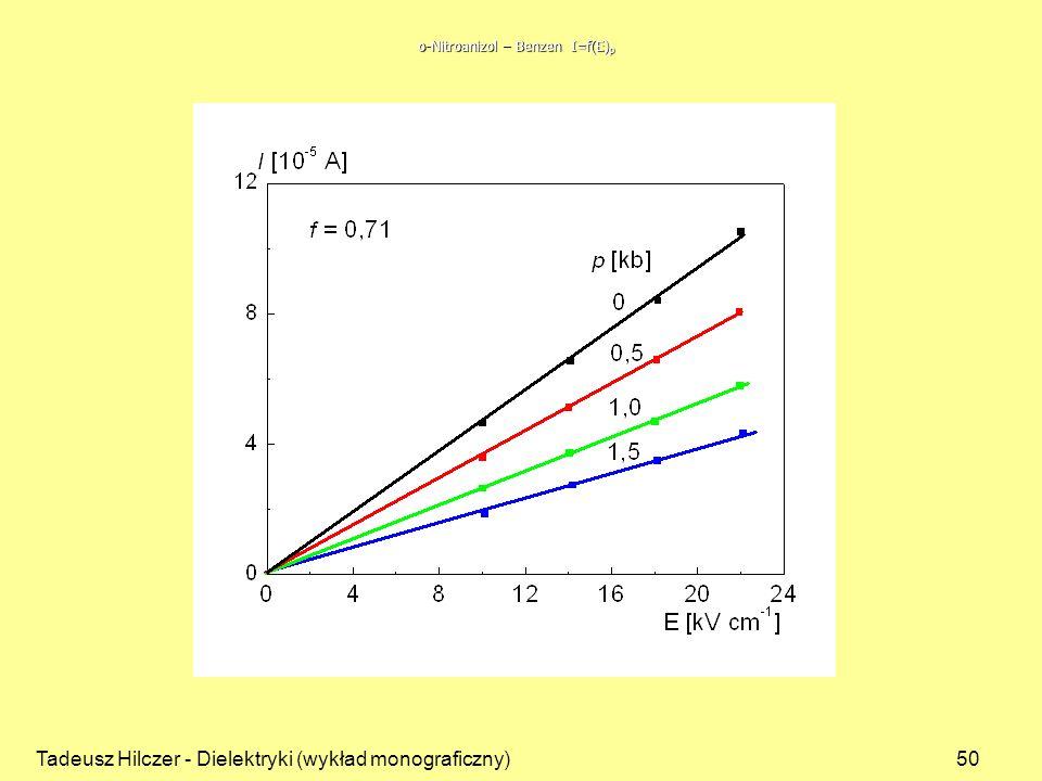 Tadeusz Hilczer - Dielektryki (wykład monograficzny)50 o-Nitroanizol – Benzen I=f(E) p