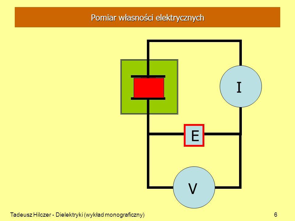 Tadeusz Hilczer - Dielektryki (wykład monograficzny)17 Prąd jonowy w gazie Prąd jonowy I j - ruch jonów (dodatnich lub ujemnych): Q - całkowity ładunek, q - ładunek jonu, N - liczba jonów (liczba nośników ładunku).