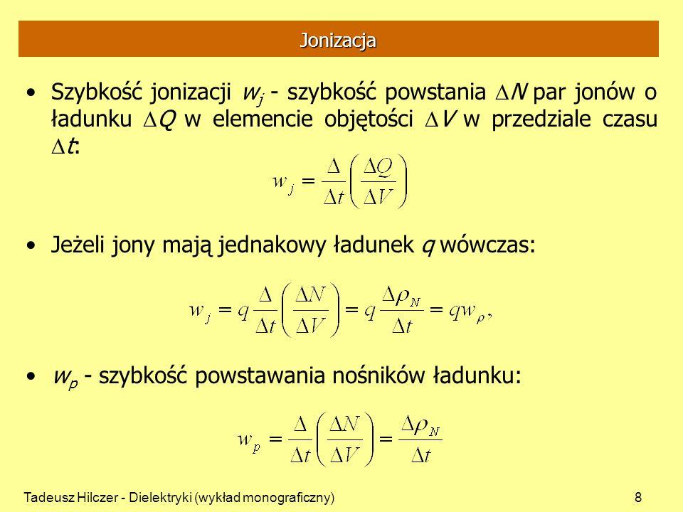 Tadeusz Hilczer - Dielektryki (wykład monograficzny)29 Teoria Frenkiela -Jon wytworzony przez jakiś czynnik zewnętrzny przylepia się do molekuły tworząc całość -Na skutek ruchów cieplnych jon może się oderwać pokonując energię aktywacji -Po oderwaniu jon porusza się po pewnej drodze swobodnej -Średnia droga swobodna zależy od struktury molekuł -Ruch jonów powoduje przepływ prądu
