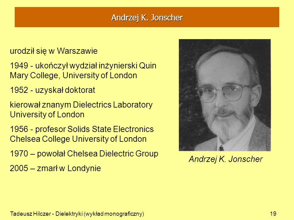 Tadeusz Hilczer - Dielektryki (wykład monograficzny)19 urodził się w Warszawie 1949 - ukończył wydział inżynierski Quin Mary College, University of Lo