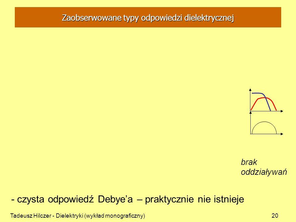 Tadeusz Hilczer - Dielektryki (wykład monograficzny)20 - czysta odpowiedź Debyea – praktycznie nie istnieje brak oddziaływań Zaobserwowane typy odpowi