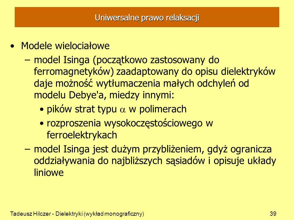 Tadeusz Hilczer - Dielektryki (wykład monograficzny)39 Uniwersalne prawo relaksacji Modele wielociałowe –model Isinga (początkowo zastosowany do ferro