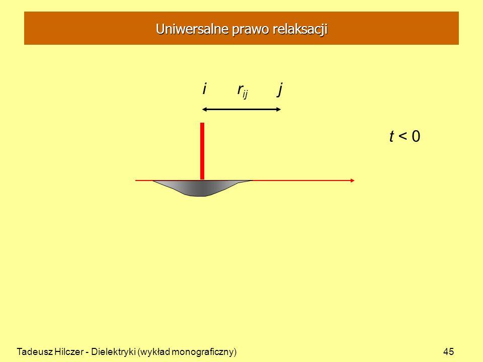 Tadeusz Hilczer - Dielektryki (wykład monograficzny)45 i r ij j t < 0 Uniwersalne prawo relaksacji