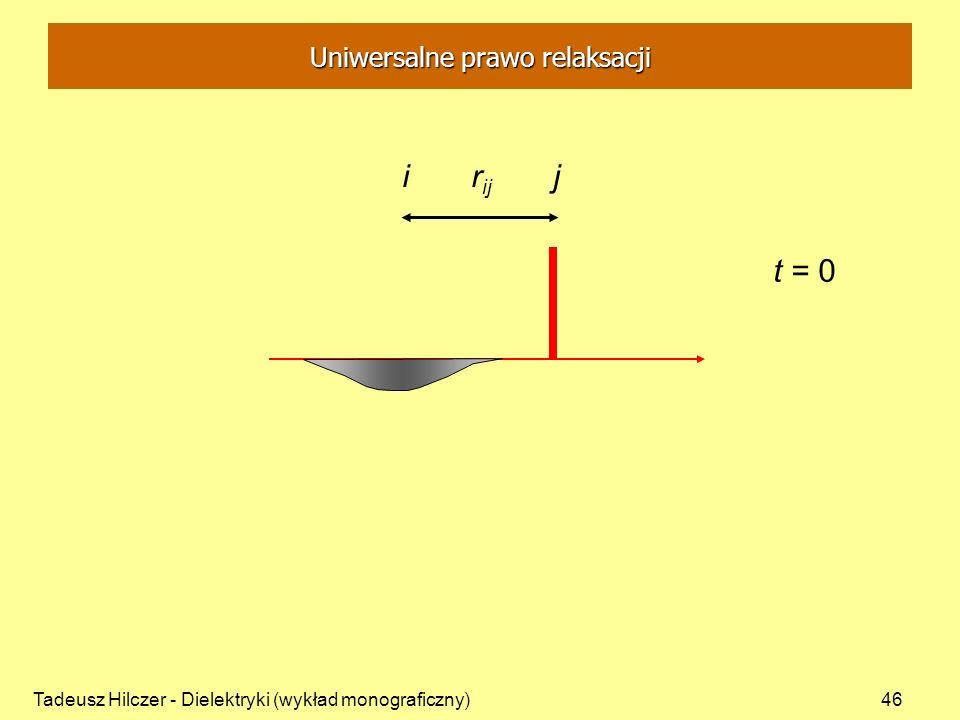 Tadeusz Hilczer - Dielektryki (wykład monograficzny)46 i r ij j t = 0 Uniwersalne prawo relaksacji