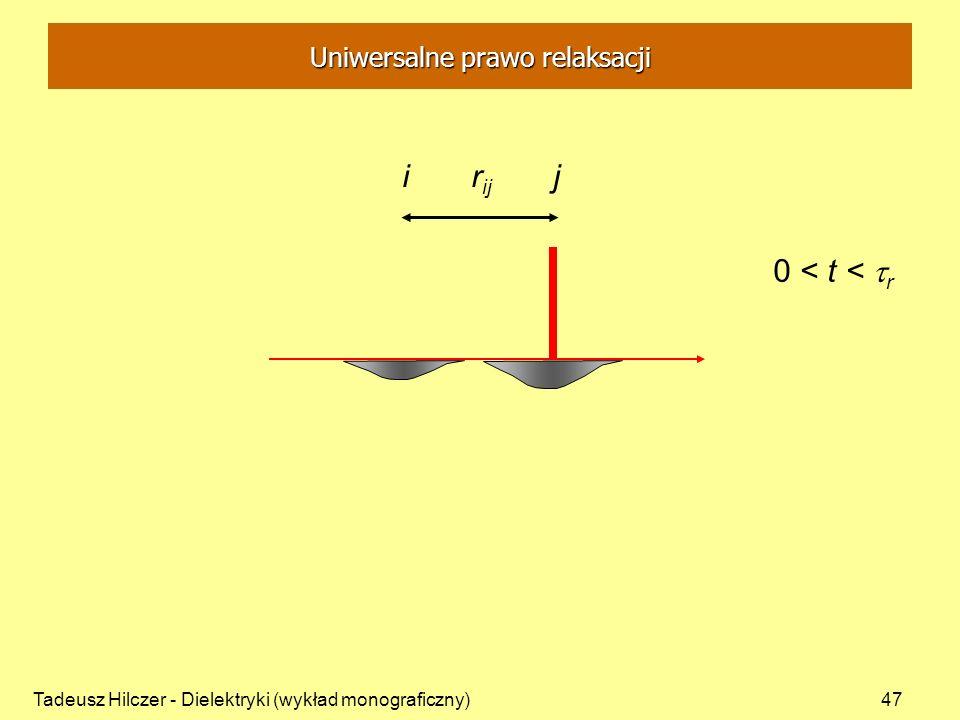Tadeusz Hilczer - Dielektryki (wykład monograficzny)47 i r ij j 0 < t < r Uniwersalne prawo relaksacji