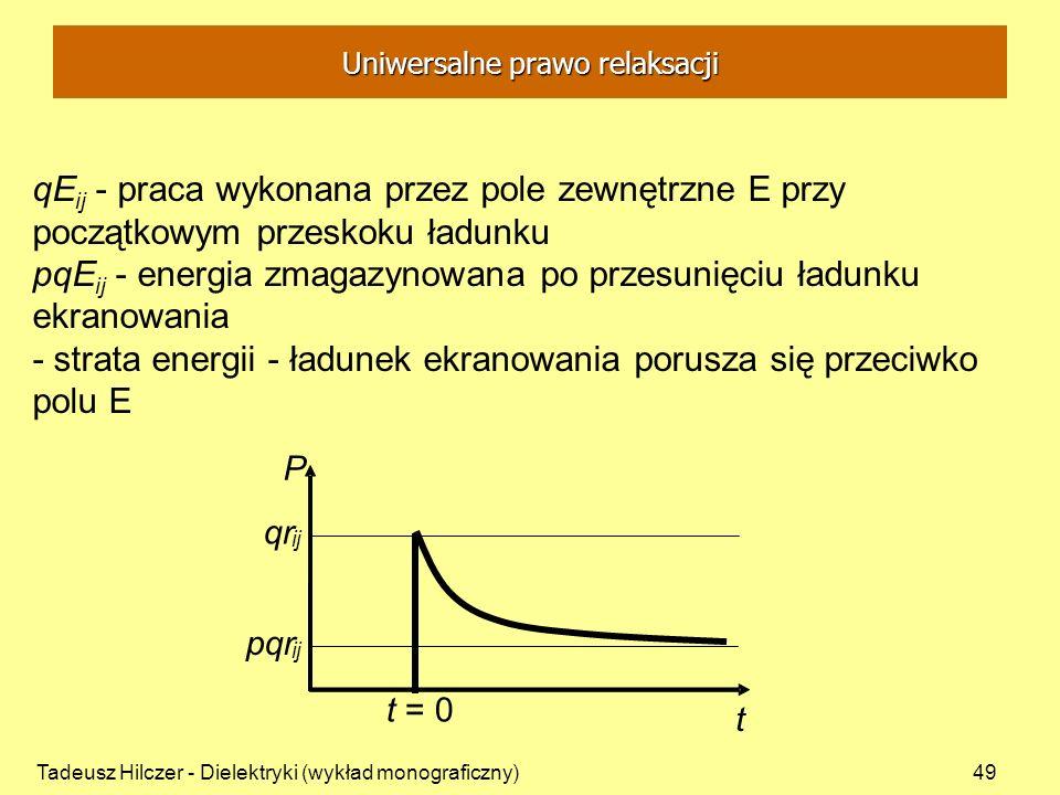 Tadeusz Hilczer - Dielektryki (wykład monograficzny)49 qE ij - praca wykonana przez pole zewnętrzne E przy początkowym przeskoku ładunku pqE ij - ener