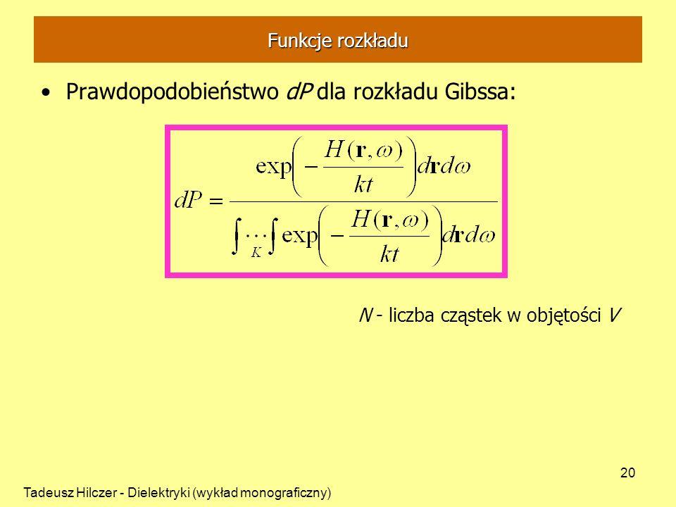 Tadeusz Hilczer - Dielektryki (wykład monograficzny) 20 Prawdopodobieństwo dP dla rozkładu Gibssa: N - liczba cząstek w objętości V Funkcje rozkładu