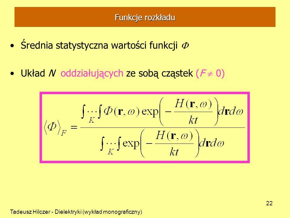 Tadeusz Hilczer - Dielektryki (wykład monograficzny) 22 Średnia statystyczna wartości funkcji Układ N oddziałujących ze sobą cząstek (F 0) Funkcje roz