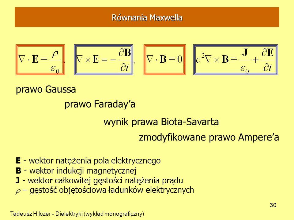 Tadeusz Hilczer - Dielektryki (wykład monograficzny) 30 prawo Gaussa prawo Faradaya wynik prawa Biota-Savarta zmodyfikowane prawo Amperea E - wektor nat ęż enia pola elektrycznego B - wektor indukcji magnetycznej J - wektor całkowitej gęstości natężenia prądu – gęstość objętościowa ładunków elektrycznych Równania Maxwella