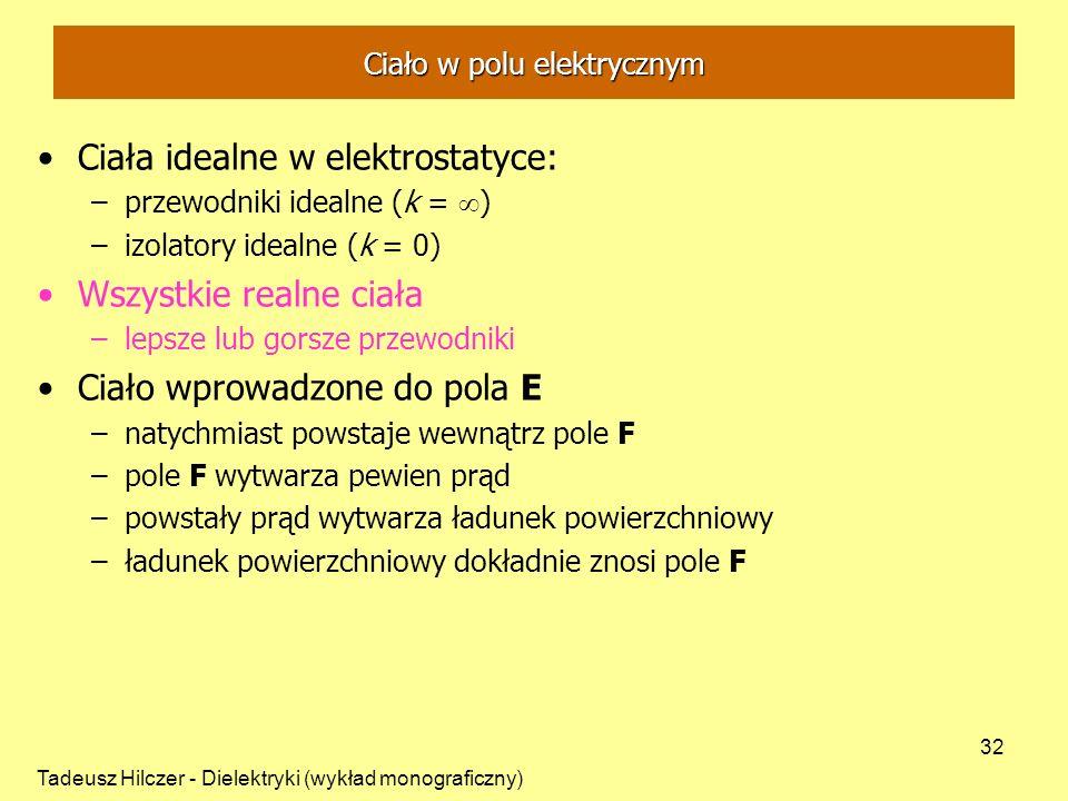 Tadeusz Hilczer - Dielektryki (wykład monograficzny) 32 Ciała idealne w elektrostatyce: –przewodniki idealne (k = ) –izolatory idealne (k = 0) Wszystkie realne ciała –lepsze lub gorsze przewodniki Ciało wprowadzone do pola E –natychmiast powstaje wewnątrz pole F –pole F wytwarza pewien prąd –powstały prąd wytwarza ładunek powierzchniowy –ładunek powierzchniowy dokładnie znosi pole F Ciało w polu elektrycznym