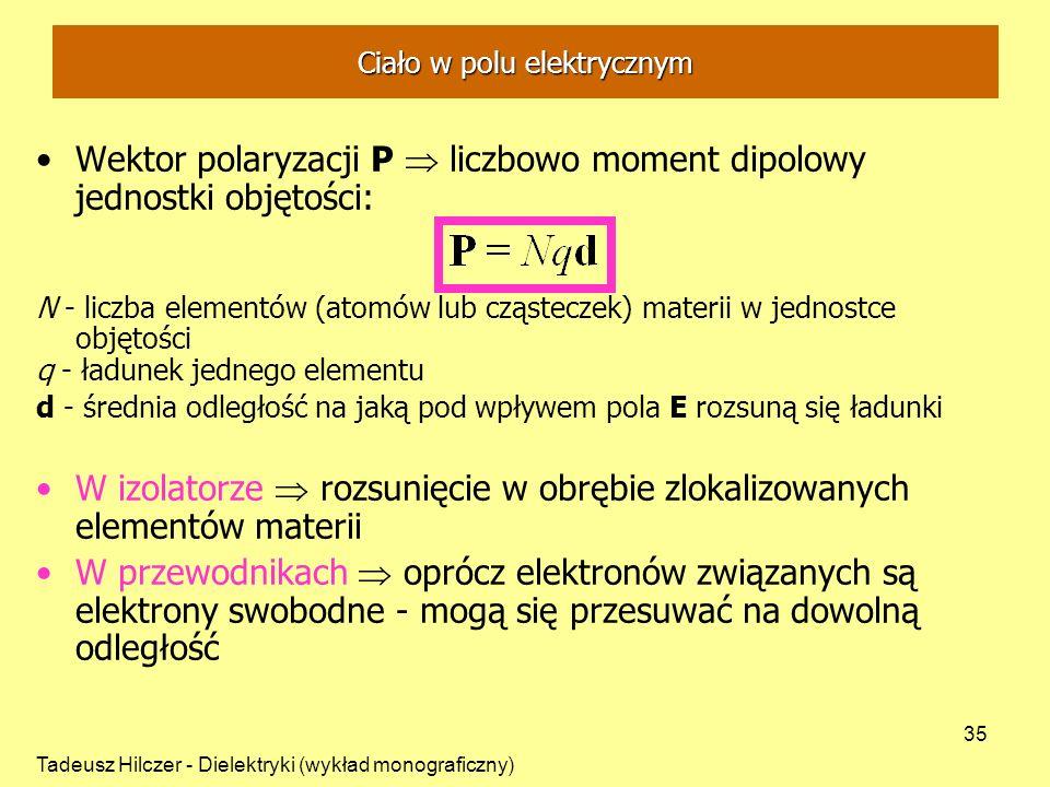 Tadeusz Hilczer - Dielektryki (wykład monograficzny) 35 Ciało w polu elektrycznym Wektor polaryzacji P liczbowo moment dipolowy jednostki objętości: N - liczba elementów (atomów lub cząsteczek) materii w jednostce objętości q - ładunek jednego elementu d - średnia odległość na jaką pod wpływem pola E rozsuną się ładunki W izolatorze rozsunięcie w obrębie zlokalizowanych elementów materii W przewodnikach oprócz elektronów związanych są elektrony swobodne - mogą się przesuwać na dowolną odległość