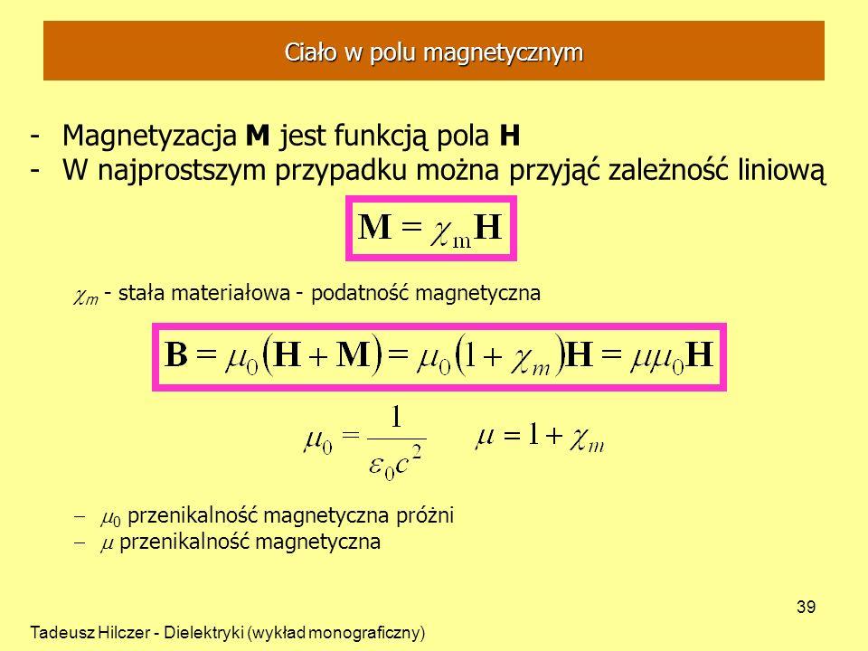 Tadeusz Hilczer - Dielektryki (wykład monograficzny) 39 Ciało w polu magnetycznym -Magnetyzacja M jest funkcją pola H -W najprostszym przypadku można przyjąć zależność liniową m - stała materiałowa - podatność magnetyczna 0 przenikalność magnetyczna próżni przenikalność magnetyczna