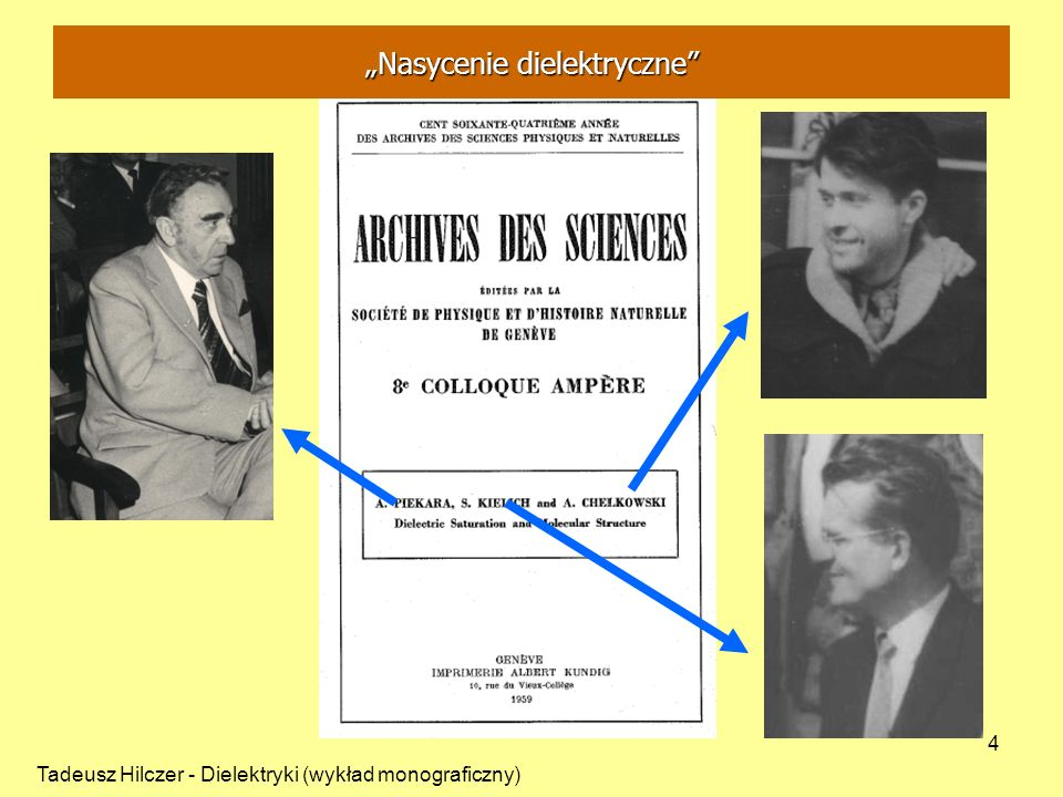 Tadeusz Hilczer - Dielektryki (wykład monograficzny) 4 Nasycenie dielektryczne