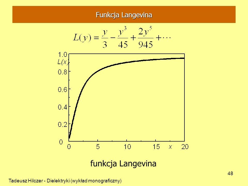 Tadeusz Hilczer - Dielektryki (wykład monograficzny) 48 funkcja Langevina Funkcja Langevina