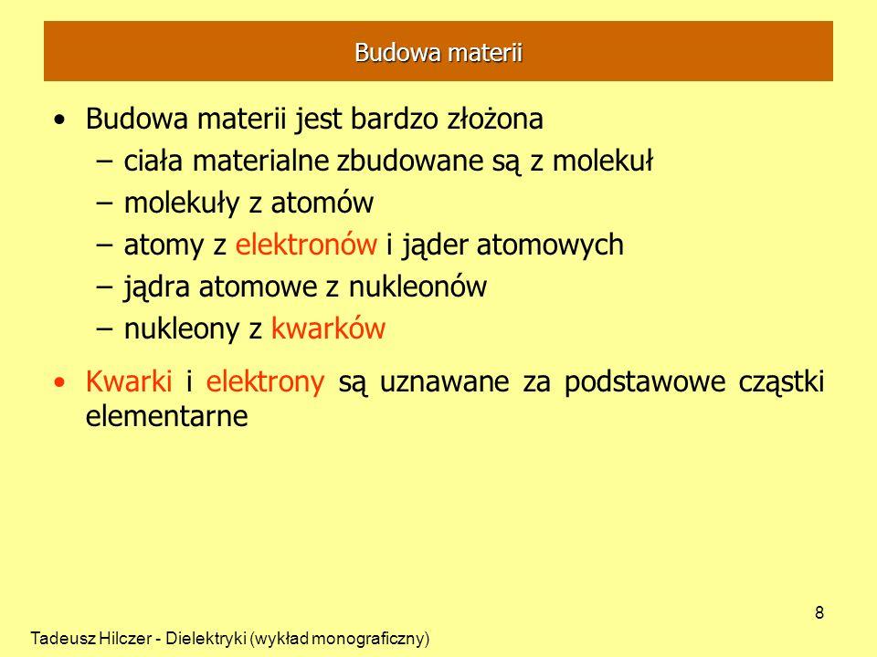 Tadeusz Hilczer - Dielektryki (wykład monograficzny) 8 Budowa materii jest bardzo złożona –ciała materialne zbudowane są z molekuł –molekuły z atomów