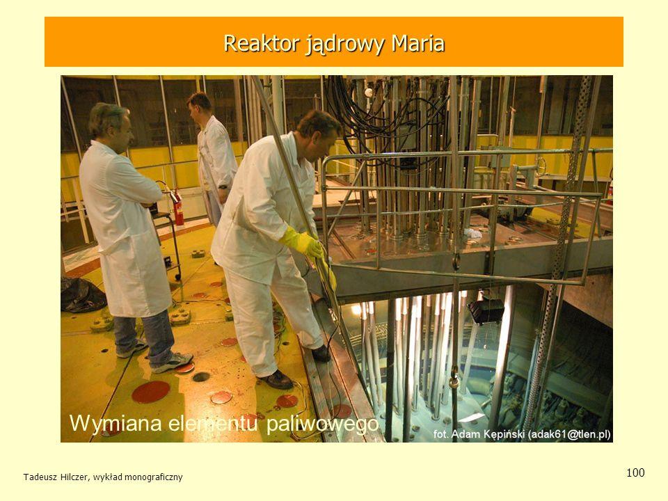 Tadeusz Hilczer, wykład monograficzny 100 Wymiana elementu paliwowego Reaktor jądrowy MARIA Reaktor jądrowy Maria