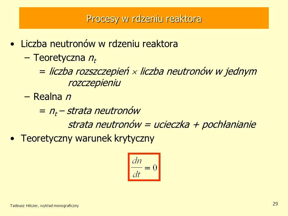 Tadeusz Hilczer, wykład monograficzny 29 Procesy w rdzeniu reaktora Liczba neutronów w rdzeniu reaktora –Teoretyczna n t = liczba rozszczepień liczba