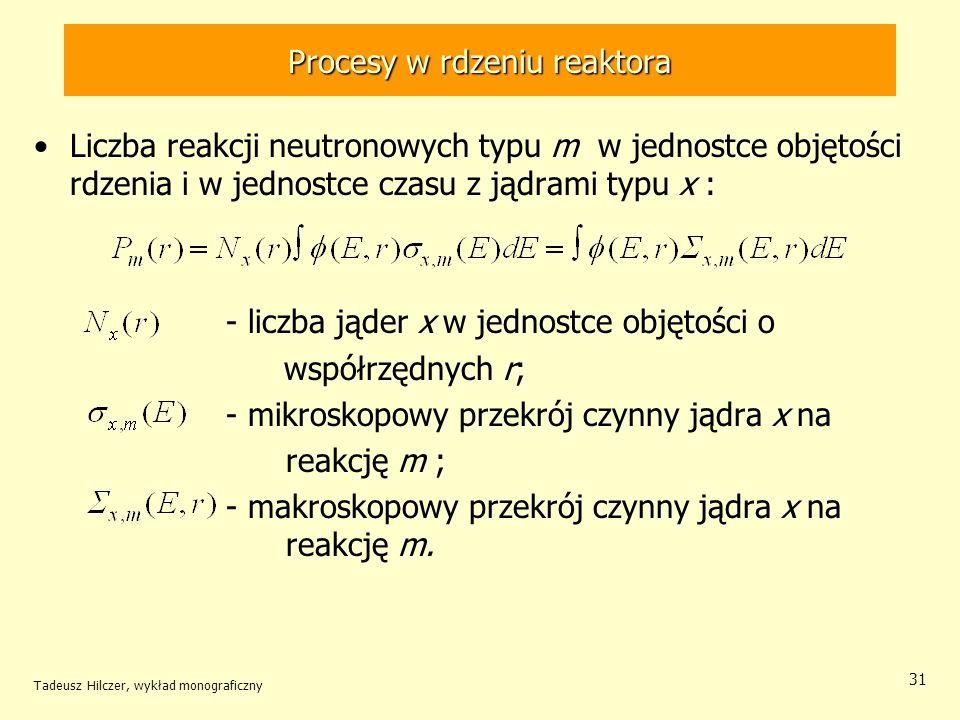 Tadeusz Hilczer, wykład monograficzny 31 Procesy w rdzeniu reaktora Liczba reakcji neutronowych typu m w jednostce objętości rdzenia i w jednostce cza